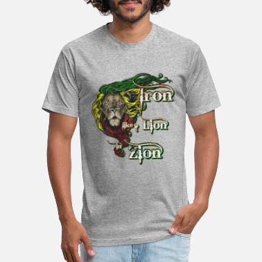 Jamaica Iron, Lion, Zion, reggae music shirt, song quote - Unisex Poly Cotton T-Shirt