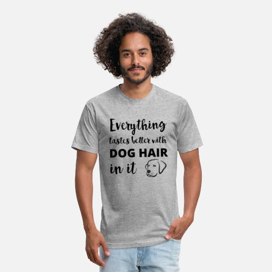 Dog T-Shirts - Everything Tastes Better With Dog Hair In It - Unisex Poly Cotton T-Shirt heather gray