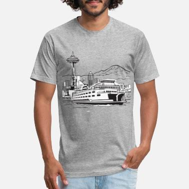 Needle Space Needle And Ferry - Unisex Poly Cotton T-Shirt