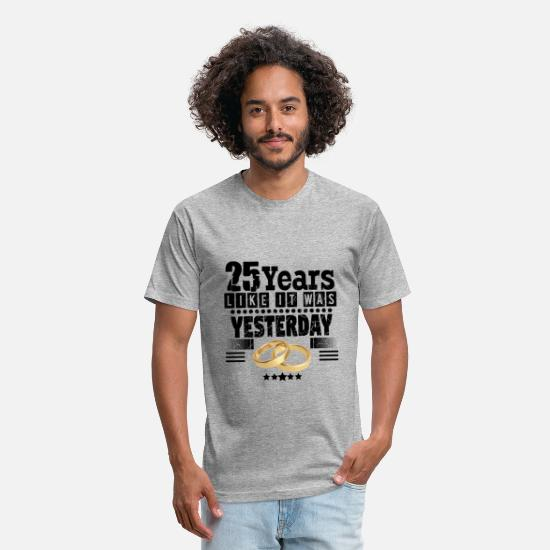 Silver T-Shirts - 25 Years! Silver wedding anniversary! - Unisex Poly Cotton T-Shirt heather gray