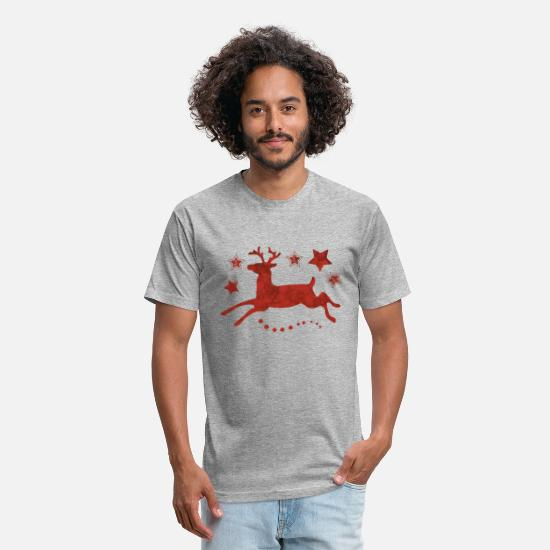 Stag T-Shirts - Red Christmas Deer - Unisex Poly Cotton T-Shirt heather gray