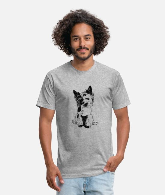 Animal T-Shirts - Cute Yorkie Dog | Vintage Pet Animal - Unisex Poly Cotton T-Shirt heather gray