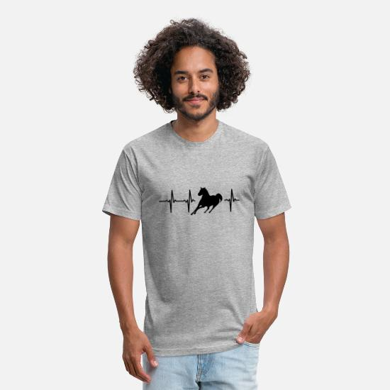 Horse T-Shirts - MY HEART BEATS FOR HORSES - Unisex Poly Cotton T-Shirt heather gray