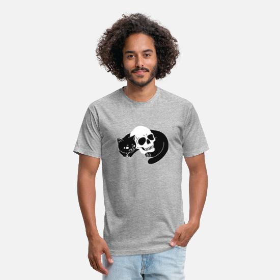 Cute Dog T-Shirts - Spooky Cat Funny Cute Skull Amazing Design - Unisex Poly Cotton T-Shirt heather gray