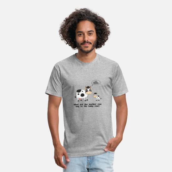 Cow T-Shirts - Cow joke - Unisex Poly Cotton T-Shirt heather gray