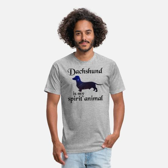 Animal T-Shirts - Dachshund Is My Spirit Animal - Unisex Poly Cotton T-Shirt heather gray