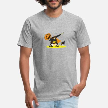 Pumpkin dabbing with a cat Halloween - Unisex Poly Cotton T-Shirt
