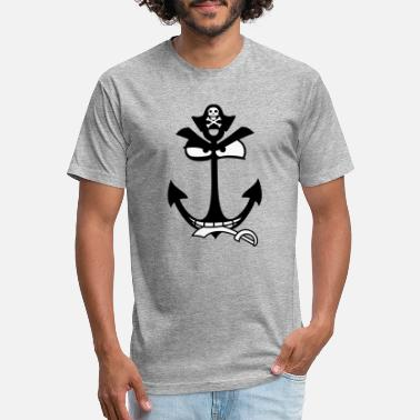 Eville pirate pirate face cartoon comic evil funny anchor - Fitted Cotton/Poly T-Shirt by Next Level