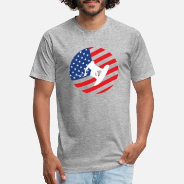 Wake Wake Boarding American Flag - Unisex Poly Cotton T-Shirt