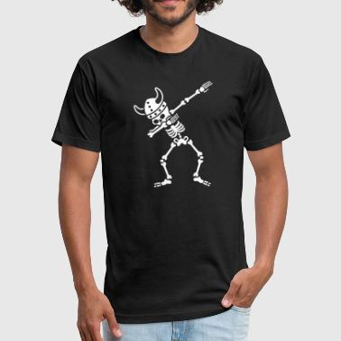 Skeleton Dab Dabbing Viking - Fitted Cotton/Poly T-Shirt by Next Level