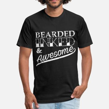 Ink Gang Bearded Inked and Awesome - Fitted Cotton/Poly T-Shirt by Next Level