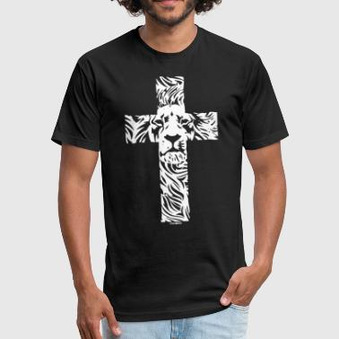 Radical Christian Lion Cross Religious Christian Rasta - Fitted Cotton/Poly T-Shirt by Next Level
