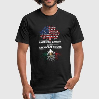 American Grown with Mexican Roots - Fitted Cotton/Poly T-Shirt by Next Level