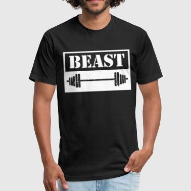 BEAST Bobybuildung Fitness Motivation Gym - Fitted Cotton/Poly T-Shirt by Next Level