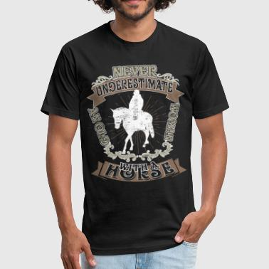 A Horse Old Woman An Old Woman With A Horse T Shirt - Fitted Cotton/Poly T-Shirt by Next Level