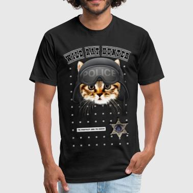 Swat Cat Wild-rat-hunter-police-cat - Fitted Cotton/Poly T-Shirt by Next Level