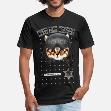 Funny Police Wild-rat-hunter-police-cat - Fitted Cotton/Poly T-Shirt by Next Level
