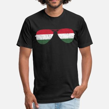 Funny Hungary Sunglasses Hungary - Fitted Cotton/Poly T-Shirt by Next Level