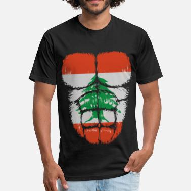Lebanon Football Lebanon flag Hulk muscles - Fitted Cotton/Poly T-Shirt by Next Level