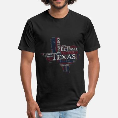 Dixie Pride Texas Map Cities Texas pride gift T-shirt - Fitted Cotton/Poly T-Shirt by Next Level