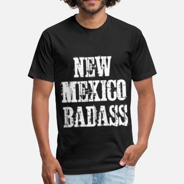 New Mexico Vintage New Mexico Badass Vintage Distressed - Fitted Cotton/Poly T-Shirt by Next Level