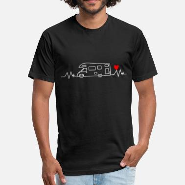 Motorhome Heartbeat Motorhome Camping Camper Sizes - Fitted Cotton/Poly T-Shirt by Next Level