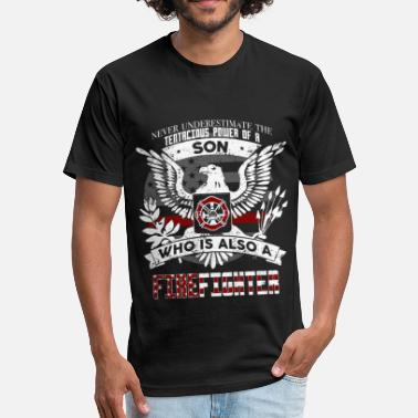 My Son Firefighter Son Firefighter - Fitted Cotton/Poly T-Shirt by Next Level