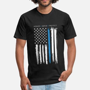 Police Flag USA Flag Police Proud American Patriotic - Fitted Cotton/Poly T-Shirt by Next Level