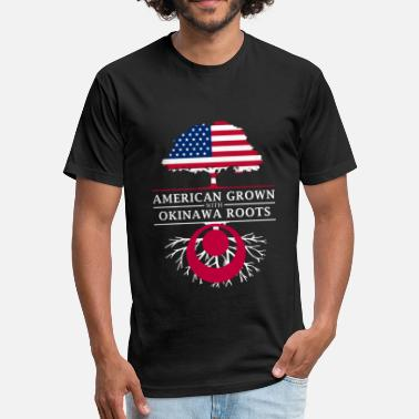 Okinawa Japan American Grown with Okinawa Roots Japan Design - Fitted Cotton/Poly T-Shirt by Next Level