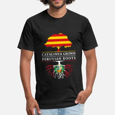 Peruvian Designs Catalunya Grown With Peruvian Roots Design - Fitted Cotton/Poly T-Shirt by Next Level