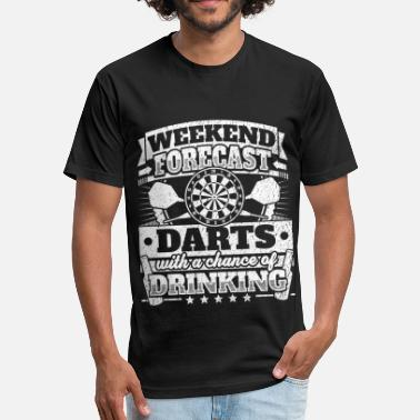 Darts Funny Weekend Forecast Darts Drinking Tee - Fitted Cotton/Poly T-Shirt by Next Level