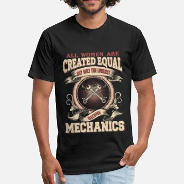 Womens Mechanic The Luckiest Women Become Mechanic - Fitted Cotton/Poly T-Shirt by Next Level