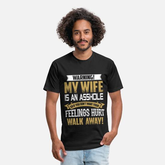 Funny T-Shirts - Warning my wife is an asshole so if don't want you - Unisex Poly Cotton T-Shirt black