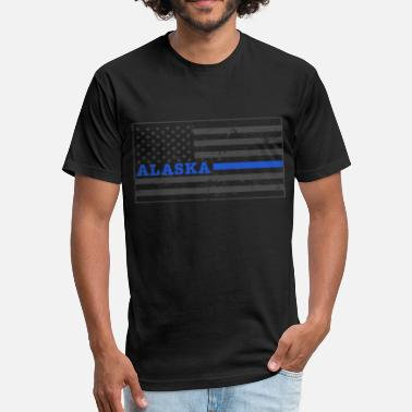 Alaska Flag Alaska Thin Blue Line Flag Alaska Police Shirt - Fitted Cotton/Poly T-Shirt by Next Level