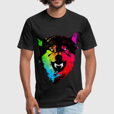 Wolf with colors - Fitted Cotton/Poly T-Shirt by Next Level