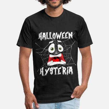 Naughty Trick Or Treat Halloween Hysteria Spider Web Screaming Face Dark - Fitted Cotton/Poly T-Shirt by Next Level