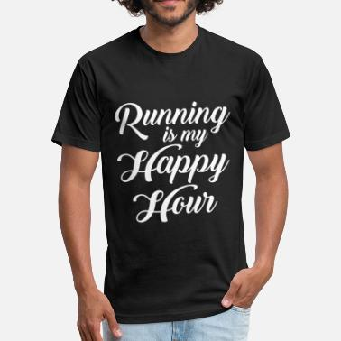 Running Is My Happy Hour Running Is My Happy Hour - Fitted Cotton/Poly T-Shirt by Next Level