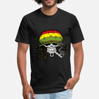 Skull Reggae Reggae Skull Pot Smoker - Fitted Cotton/Poly T-Shirt by Next Level
