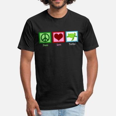 Green Turtles In Love Peace Love Turtles - Fitted Cotton/Poly T-Shirt by Next Level