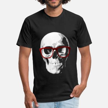 Skull Geek Nerd skull for geeks - Fitted Cotton/Poly T-Shirt by Next Level