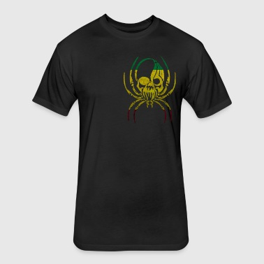 RASTA FLAG SPIDER SKULL - Fitted Cotton/Poly T-Shirt by Next Level