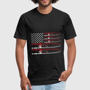 Boat Insults US Flag made of Fishing pole 01 - Fitted Cotton/Poly T-Shirt by Next Level