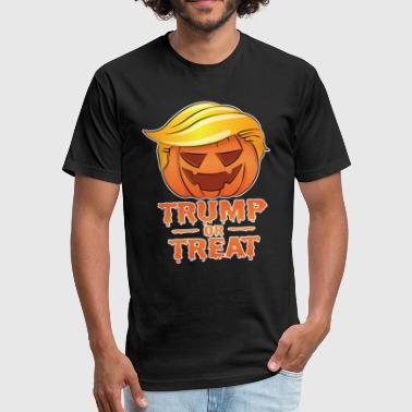 Trump Or Treat Trump or Treat Funny Halloween Costume Humor Shirt - Fitted Cotton/Poly T-Shirt by Next Level