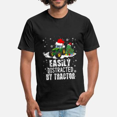 Distracted Tractors Farmer Easily Distracted By Tractor - Unisex Poly Cotton T-Shirt