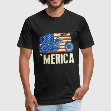 American flag motorcycle shirt - Fitted Cotton/Poly T-Shirt by Next Level