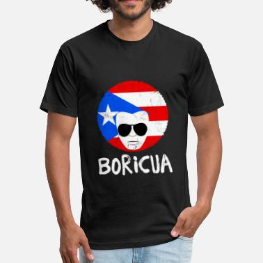 Flags Latinos Mens Puerto Rico Boricua Latino Papa Fathers Day - Fitted Cotton/Poly T-Shirt by Next Level
