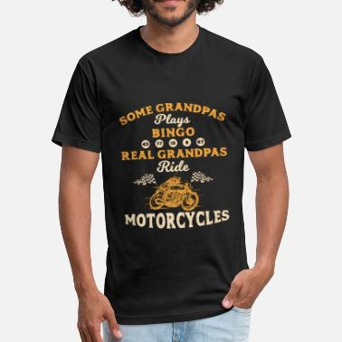 Motorbike Tops Real Grandpas Ride Motorcycle Biker Motorbike Bike - Fitted Cotton/Poly T-Shirt by Next Level