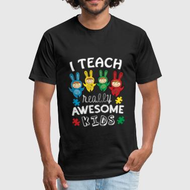 Autism I Teach Awesome Kids Autism Awareness - Fitted Cotton/Poly T-Shirt by Next Level
