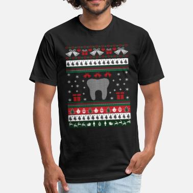 Dentist Ugly Christmas Dentist Ugly Christmas Sweater - Fitted Cotton/Poly T-Shirt by Next Level