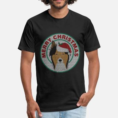 Dog Christmas Cards Merry Christmas Collie Dog - Fitted Cotton/Poly T-Shirt by Next Level